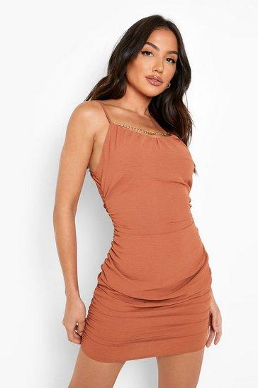 Terracotta orange Ruched Neck Strappy Mini Dress