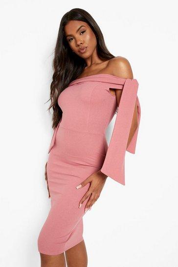 Rose pink Bardot Tie Detail Midi Dress