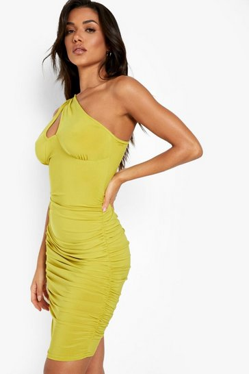 Lime green One Shoulder Cut Out Mini Dress