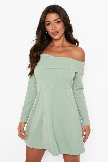 Sage green Off The Shoulder Skater Skirt Blazer Dress