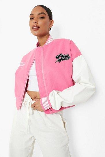 Pink Crop Ofcl Sports Varsity Jacket