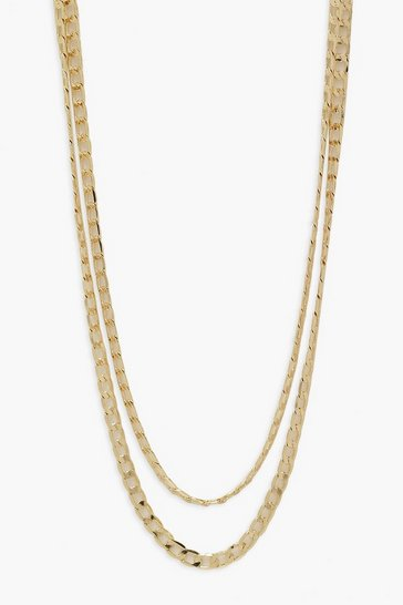 Gold metallic Double Layer Simple Curb Chain Choker