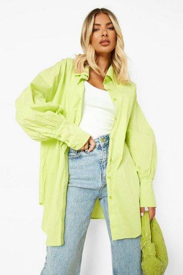 Lime green Green Volume Sleeve Oversized Shirt