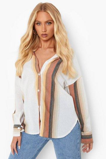 Stone beige Fabric Stripe Shirt