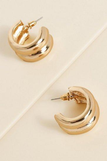 Gold metallic Recycled Chunky Double Hoop Earring