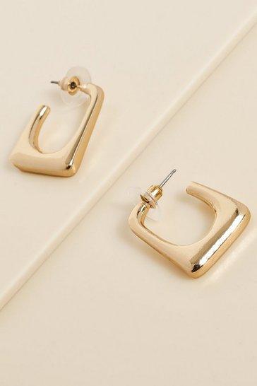 Gold metallic Recycled Basic Rectangle Hoop Earring