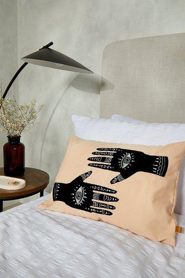 Cream white Ashram Hands Scatter Cushion