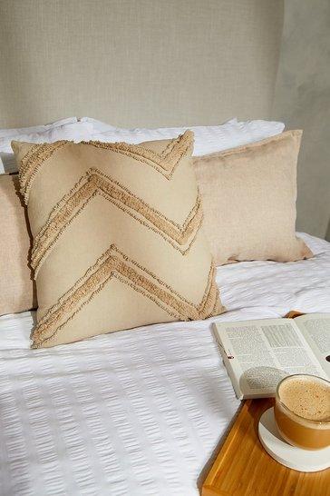 Cream white Textured Zig Zag Cushion
