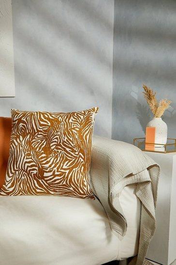 Mustard yellow Zebra Textured Cushion