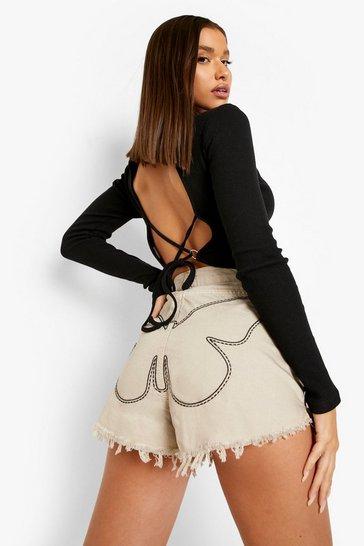 Sand beige Butterfly Stitch Detail Frayed Hem Shorts