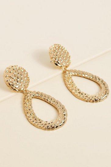 Gold metallic Recycled Snake Knocker Earrings