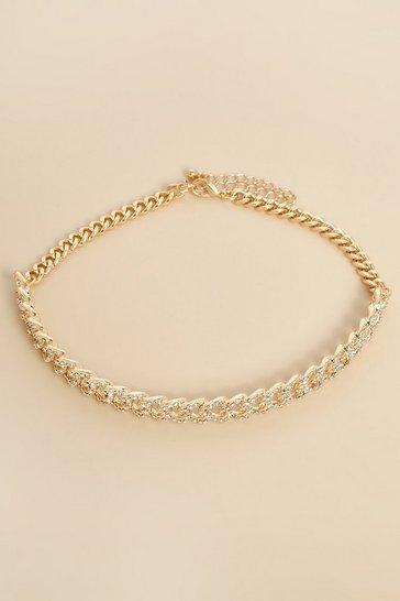 Gold metallic Recycled Curb Diamante Chain Choker