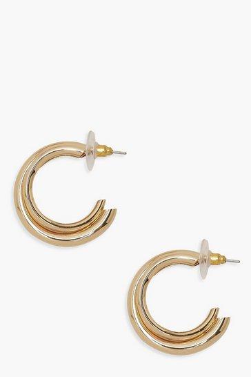 Gold metallic Double Layer Hoop Earrings