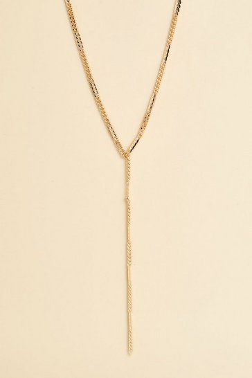Gold metallic Recycled Simple Plunge Curb Chain Necklace
