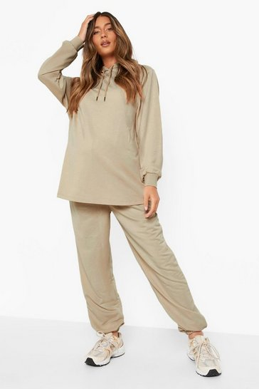 Stone beige Maternity Recycled Hoody And Jogger Lounge Set