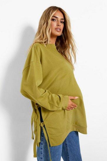 Khaki Maternity Recycled Tie Side Nursing Sweatshirt