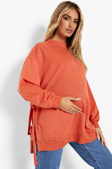 Rust orange Maternity Recycled Tie Side Nursing Sweatshirt
