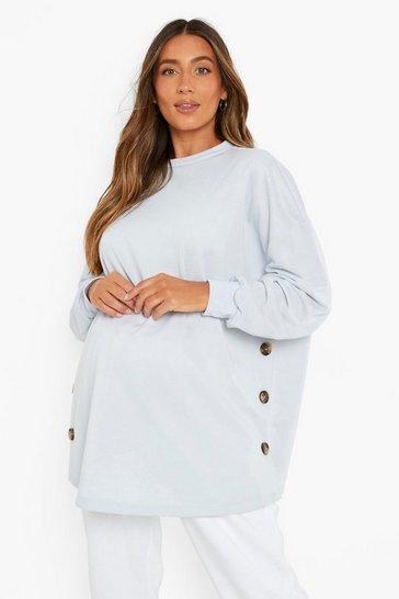 Blue Maternity Side Button Nursing Sweatshirt