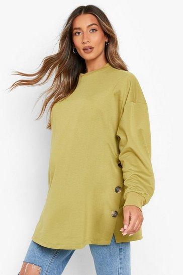 Khaki Green Maternity Side Button Nursing Sweatshirt