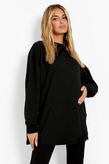 Black Maternity Recycled Popper Side Nursing Sweatshirt