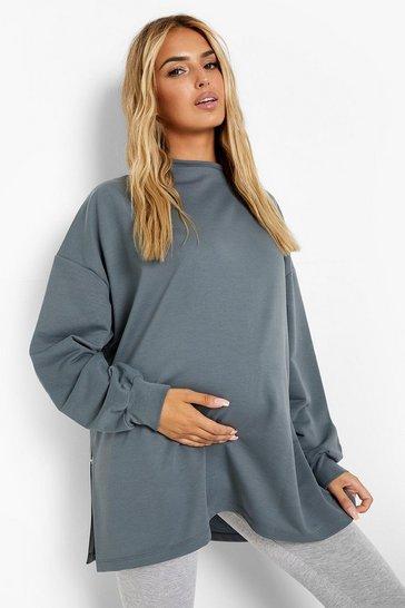 Lead grey Maternity Recycled Popper Side Nursing Sweatshirt