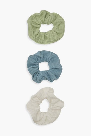 Multi 3 Pack Waffle Textured Scrunchies