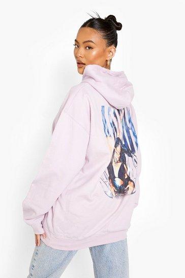 Lilac purple Aaliyah License Print Oversized Hoodie