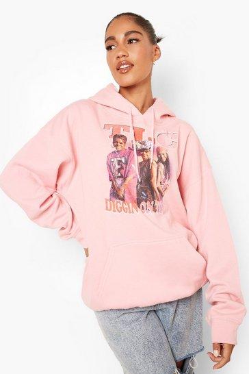 Pink Tlc License Print Oversized Hoodie
