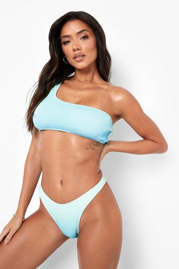 Blue Ombre One Shoulder Bikini Top