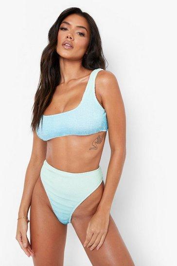 Blue Ombre Crinkle Scoop Bikini Top