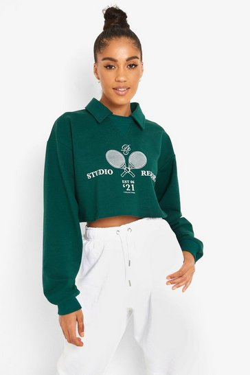 Forest green Collared Printed Crop Sweater