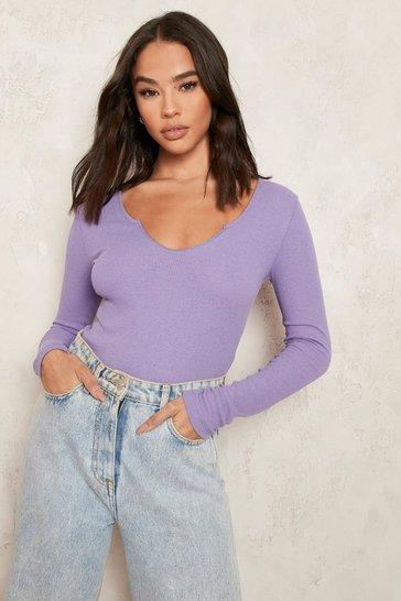 Purple Notch Neck Long Sleeve Bodysuit