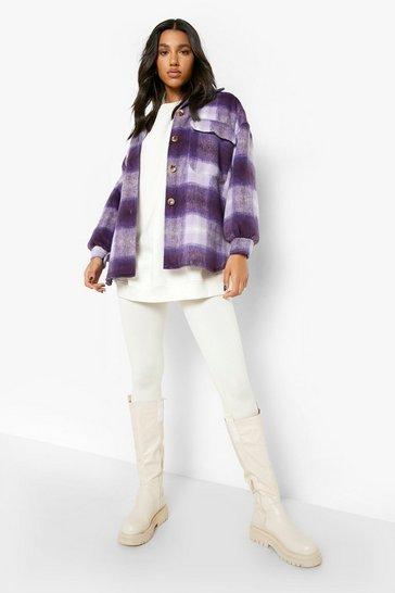Lilac Oversized Check Shacket