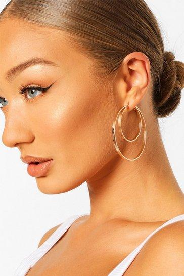 Gold metallic Recycled Double Hoop Earrings