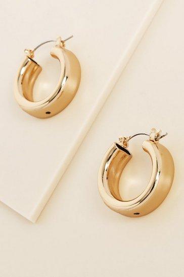 Gold metallic Recycled Mini Chunky Hoop Earrings