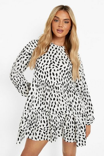 White Printed Tiered Long Sleeve Smock Dress