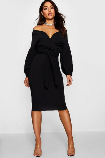 Black Recycled Off The Shoulder Wrap Midi Dress