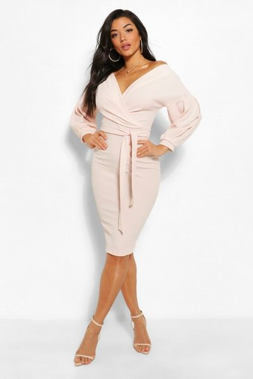 Stone beige Recycled Off The Shoulder Wrap Midi Dress