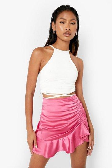 Pink Woven Frill Hem Ruched Detail Mini Skirt