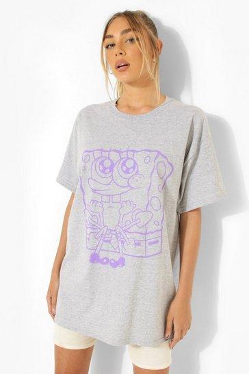 Grey Sponge Bob License Print Oversized T-Shirt