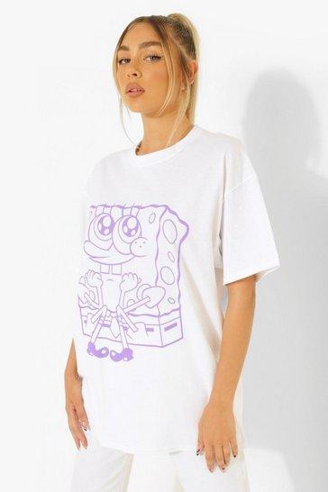 White Sponge Bob License Print Oversized T-Shirt