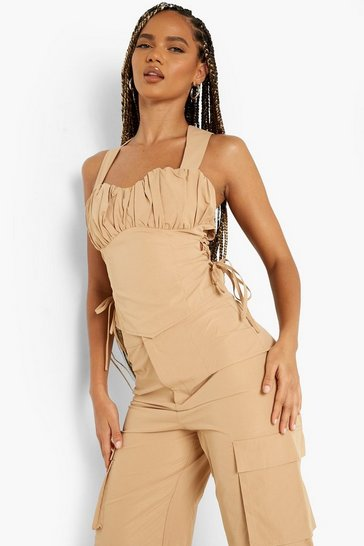 Camel beige Ruched Bust Lace Up Side Corset