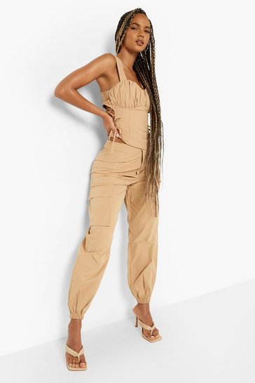 Camel beige Relaxed Fit Cargo Trousers