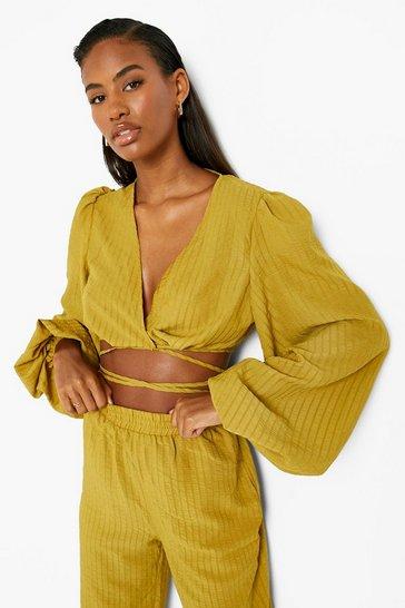 Chartreuse yellow Textured Tie Waist Volume Sleeve Blouse