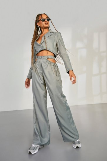 Grey Cut Out Side Slouchy Wide Leg Trousers