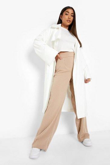 Sand beige Crepe Pinstripe Wide Leg Trouser