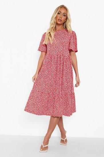 Red Floral Textured Frill Hem Smock Dress