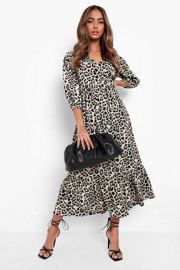 Stone beige Leopard Textured Wrap Midaxi Dress