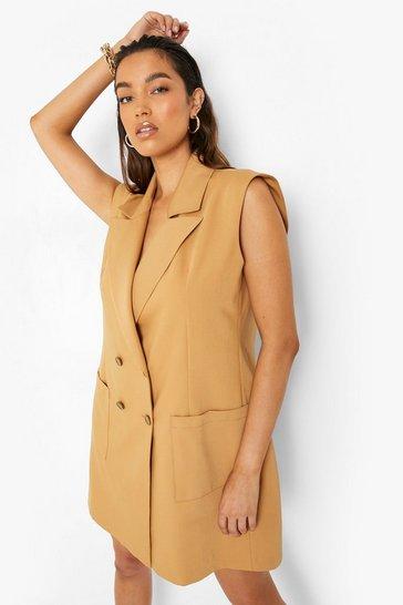 Camel beige Sleeveless Over Sized Blazer Dress