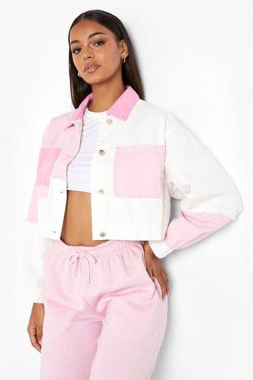 Pink Colour Block Denim Jacket